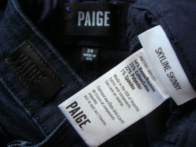 Neuf avec étiquettes PAIGE Skyline Cheville Peg Transcend Jeans W3438 EGrünen made in USA SZ 24