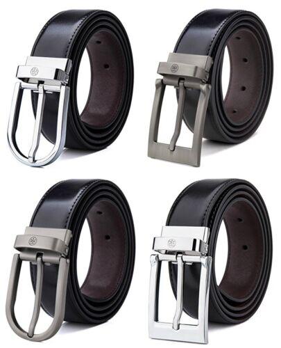 Tonly Monders Men/'s Reversible Genuine Leather Belt For Jeans Black