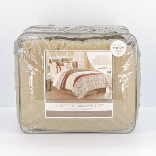 Noelle 12-Piece King Comforter Set in Spice/Taupe