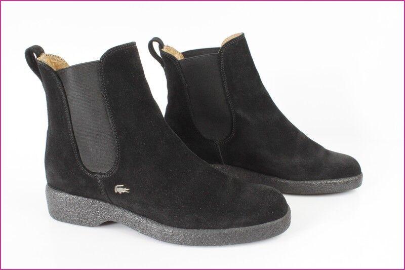 Bottines Stiefel LACOSTE Daim Noir  UK 4,5 / 37,5 FR 37,5 / TBE aa3fa2