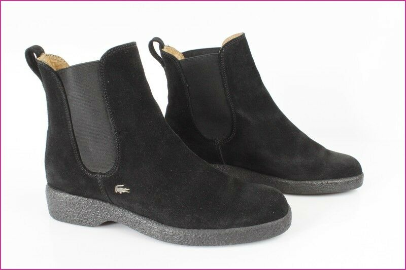 Bottines Stiefel LACOSTE FR Daim Noir  UK 4,5 / FR LACOSTE 37,5 TBE 6fec9a