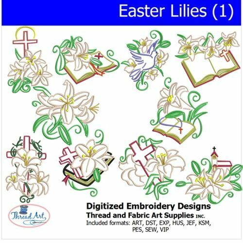 Embroidery Design CD Easter Lilies1 10 Designs 9 Formats Threadart