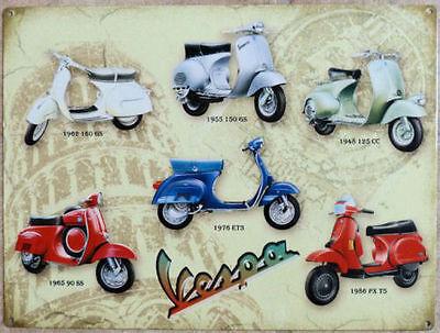Vespa,Scooter,Americaines Italien Vespa Collection Grand Enseigne en Métal,Photo