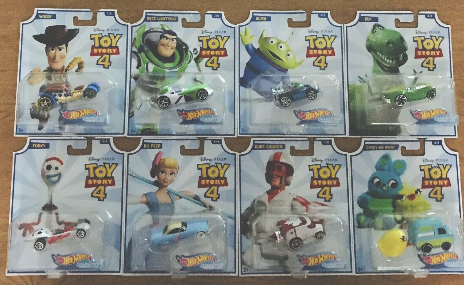 Toy Story 4 Hot Wheels Character Cars Set Of 8. Ready To Ship