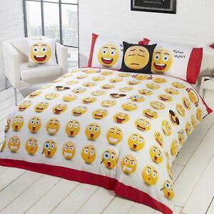 Emoji-Icones-Set-Housse-de-couette-double-NEUF-Design-Reversible-2-en-1