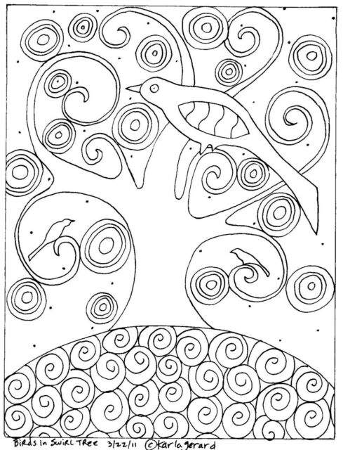 Rug Hook Craft Paper Pattern BIRDS IN SWIRL TREE Folk Art Prim Karla Gerard