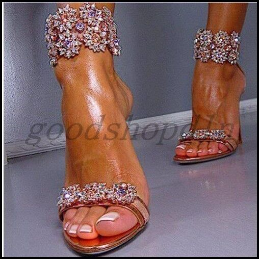 Sexy Womens Open Toe High Heels Sandals Rhinestone Ankle Strao Back Zip shoes SZ