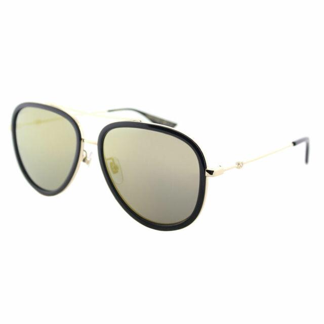 Gucci GG0062S 001 Black Gold Metal Aviator Sunglasses Gold Mirror Lens 5969426422