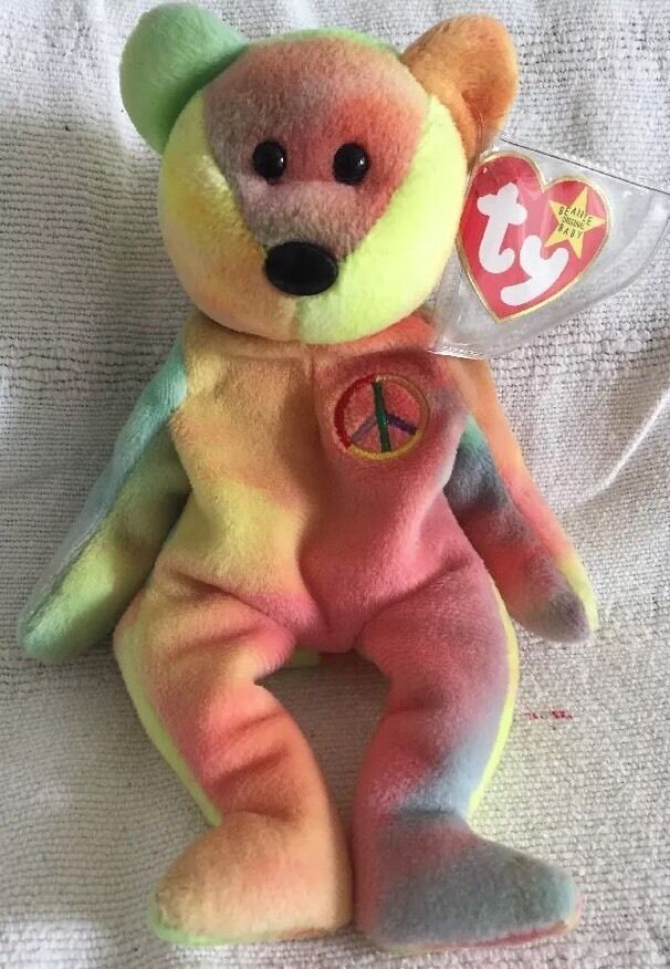 Original Ty Beanie Baby Peace Bear - Extremely Rare Version  Mint