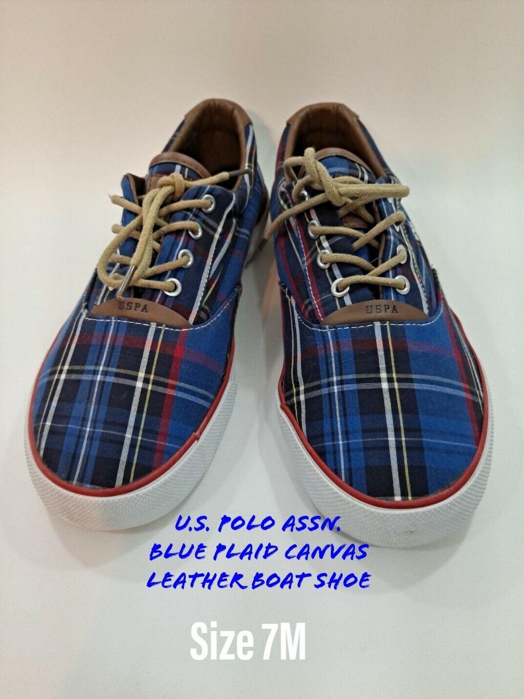 Men's U.S. Polo Assn. USPA Sneakers Boat Shoes Sz 7.5 Blue Plaid Canvas leather