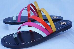 NUEVO-Tory-Burch-Zapatos-Multi-Patos-Sandalias-Planas-Talla-9-5-TANGAS-Cuero