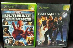 Marvel Ultimate Alliance + Fantastic 4 - 2 Game Lot Microsoft Xbox OG Working