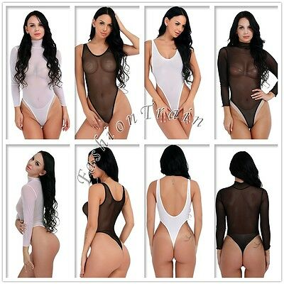 UnabhäNgig Sexy Women Mesh Sheer See-through Top High Cut Leotard Thong Bodysuit Swimsuit