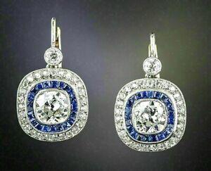 Earrings-Antique-Vintage-Art-Deco-14K-White-Gold-Over-3-Ctw-Diamond-Halo-1920-039-s