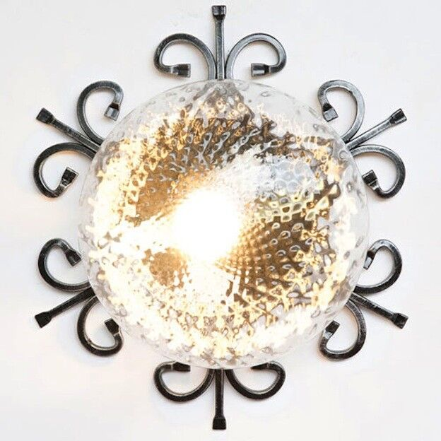 Ceiling Light Wrought Iron Glass Clear Outdoor Bulb E27 Black Silver
