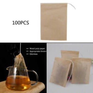 100X-Empty-Teabag-Drawstring-Filter-Paper-Herb-Loose-Tea-Leaf-Pouch-Bags-10-8cm