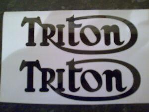 NORTON DOMMIE TRIUMPH BONNEVILLE TRIUMPH TRITON PETROL TANK DECALS IN BLACK