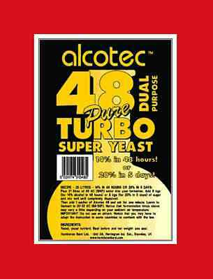 ALCOTEC 48 HOUR TURBO YEAST 20% FOR MOONSHINERS WHISKEY STILL FAST AND CLEAN