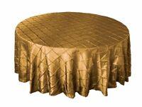 132 Gold Pintuck Wedding Tablecloth Table Cloth