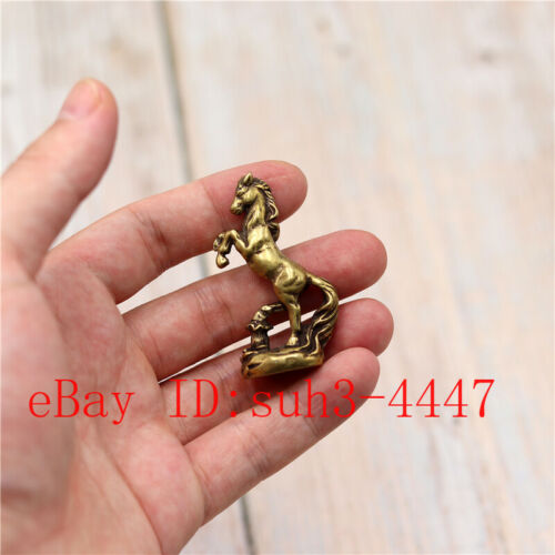 Chinese Hand Engraving Exquisite Copper Brass Horse Small Statue Ornament