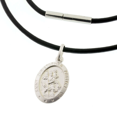 FREE ENGRAVING BLACK Leather Necklace /& 925 Silver St Christopher Pendant Gift