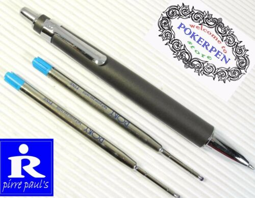 2 PIRRE PAUL/'S BP-206 ball point pen SILVER parker style refills BLACK ink