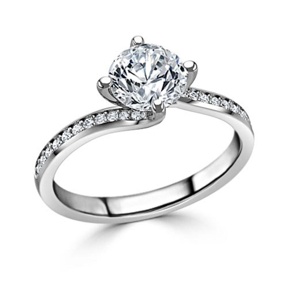1.20 Ct VVS1 Round Cut Bridal Diamond Engagement Ring 14K Solid White gold Rings