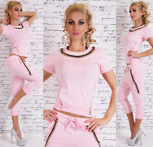 Women-039-s-sport-Tracksuit-2-Piece-Set-Casual-Crop-Tops-Long-Pant-Gym-Suit-casual