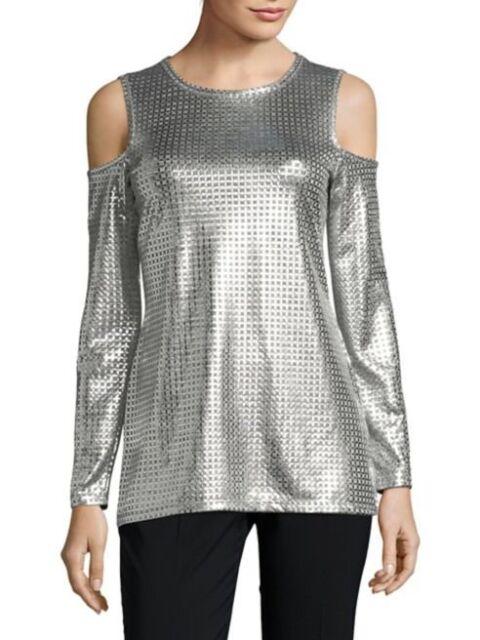 d5fc35c6b4422 MICHAEL KORS Metallic Foil Cold Shoulder Top Silver  78 Size S NWT ...