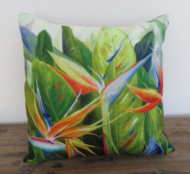 Tropical Bird of Paradise Painting Suede Look Cushion Cover 45cm Pillow Case