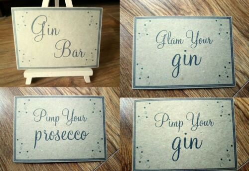 A3//A4//A5 Personalised Vintage Gin /& Prosecco Wedding Signs