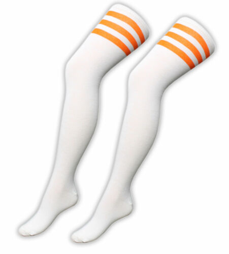 Girls Ladies 3 Stripe Over the Knee High Socks Women Referee Fancy Checked OTK