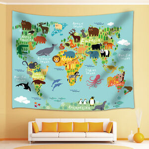 Animal world map tapestry wall hanging for living room bedroom dorm image is loading animal world map tapestry wall hanging for living gumiabroncs Images