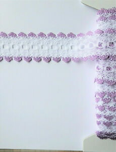 IN 5 metres KNIT LACE  White with Lilac