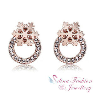 7fa86bd33 18K Rose Gold Plated Made With Swarovski Crystal Snowflake Round ...
