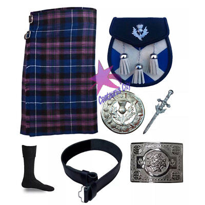 Cc Uomo Scozzese Pride Of Scozia 8 Yard 16 Oz Highland Gonnellino In Tartan 7 Pz Una Grande Varietà Di Modelli