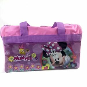 Disney-Minnie-Mouse-600D-Polyester-Pink-Duffle-Bag-PVC-with-Side-Panels