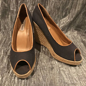 Women-039-s-Steve-Madden-Peep-Toe-Rope-Wedge-Heels-Shoes-Size-10-Slip-On-Black