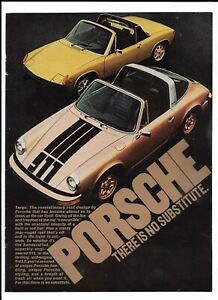"Gold 1974 Porsche 914 ""There Is No Substitute."" 911 Targa Roof Roll Bar Print Ad"