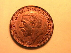 1928-GREAT-BRITAIN-1-Farthing-Nice-CH-UNC-Original-Old-Red-Lustrous-1-4D-UK-Coin