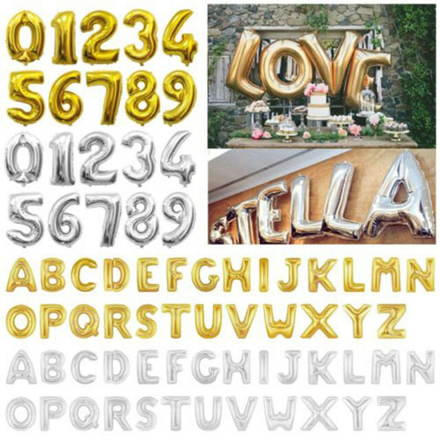 Balloons 40 Inch Letter U Number Balloons in Silver Alphabet USA PartyVincenza