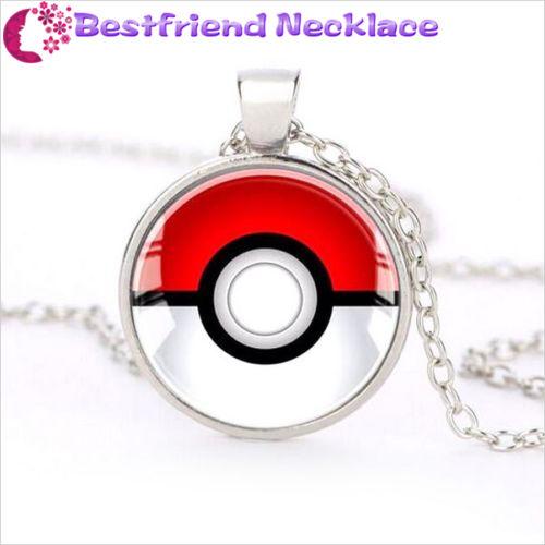 Silver Anime Pokemon Pokeball Jewelry Glass Dome Pendant Necklace#T1
