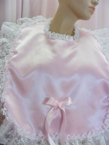 sissy adult baby lg frilly bibs make your own colour lace backing fancydress