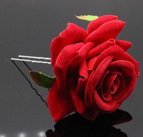 Haarnadel Große Rosa Blume Haarnadeln 65-70 mm Stoff-Velour Samt Braut Hochzeit