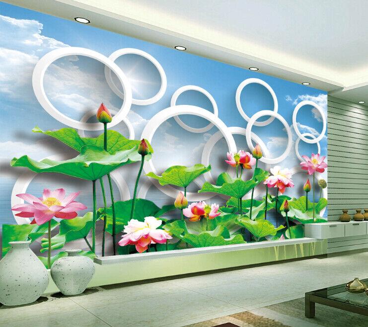 3D Teich Lotus Kreis 83 Tapete Wandgemälde Tapete Tapeten Bild Familie DE Summer