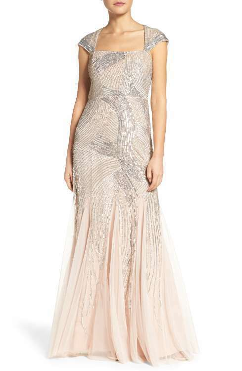 ADRIANNA PAPELL BEADED MESH SHELL GOWN DRESS sz 8