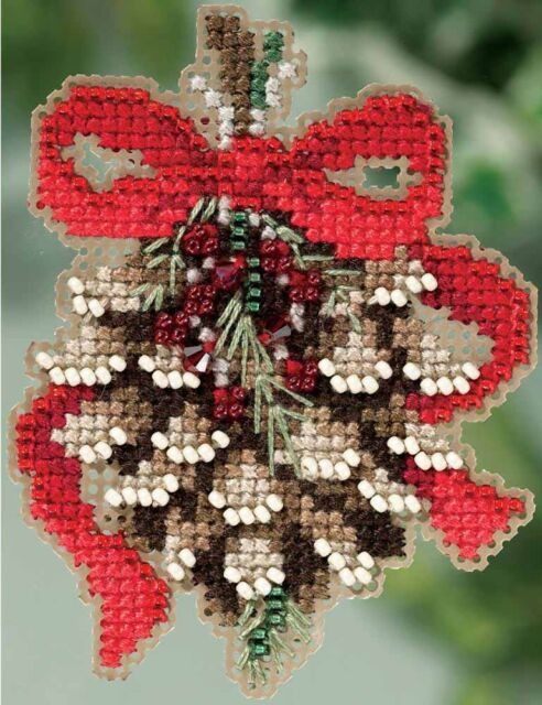 Mill Hill Beads Cross Stitch Kit 2.5 x 3 in. ~ PINECONE Magnet Ornament #18-5304