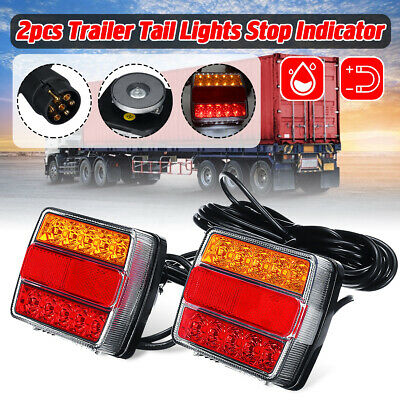 2pcs Magnetic LED Trailer Towing Lightboard Light Rear Tail Board Lamp 7.5m Wire