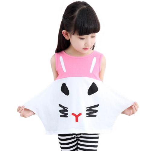 Girls Cute Kitty Top Stripy Leggings Set Black /& White Pink /& White