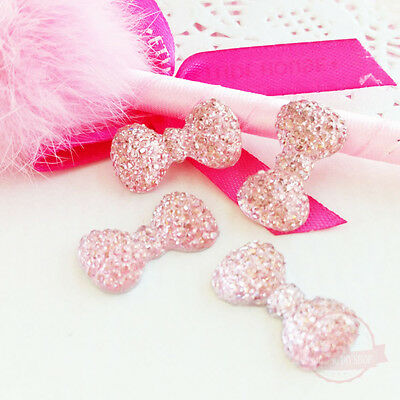 4 pcs Ribbon Bow Light Pink Glitter Resin Rhinestone 12mmx22mm Flat back